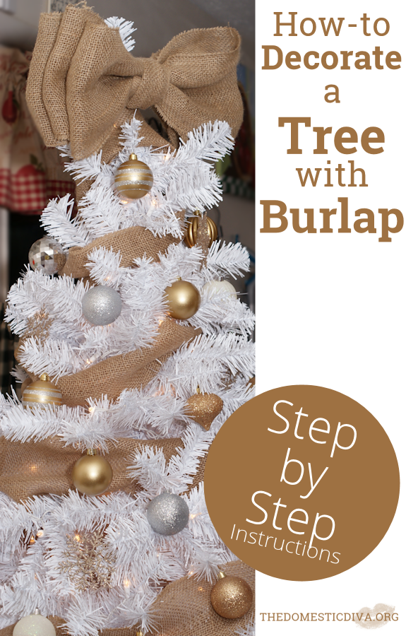 how to decorate a white christmas tree with burlap step