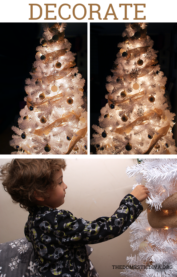 how to decorate a white christmas tree with burlap step by step instructions plus burlap bow tree topper tutorial the domestic diva