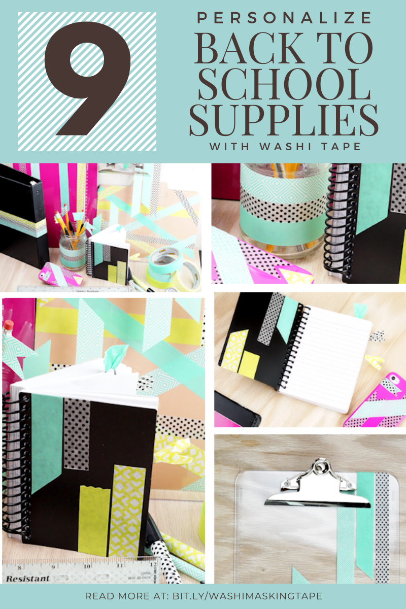 Personalize 9 School Supplies with Washi Tape