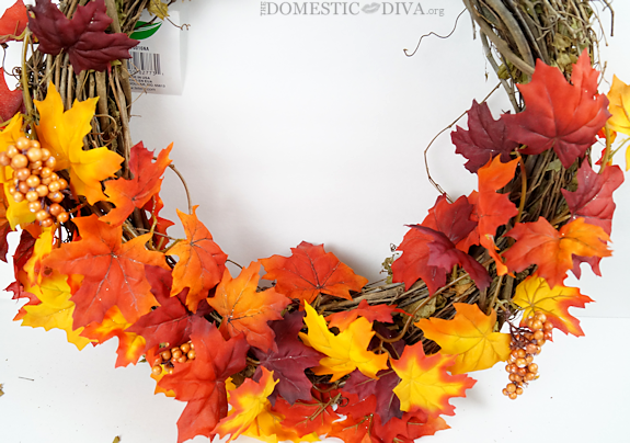 Attach Fall Leaves Garland to a Wreath
