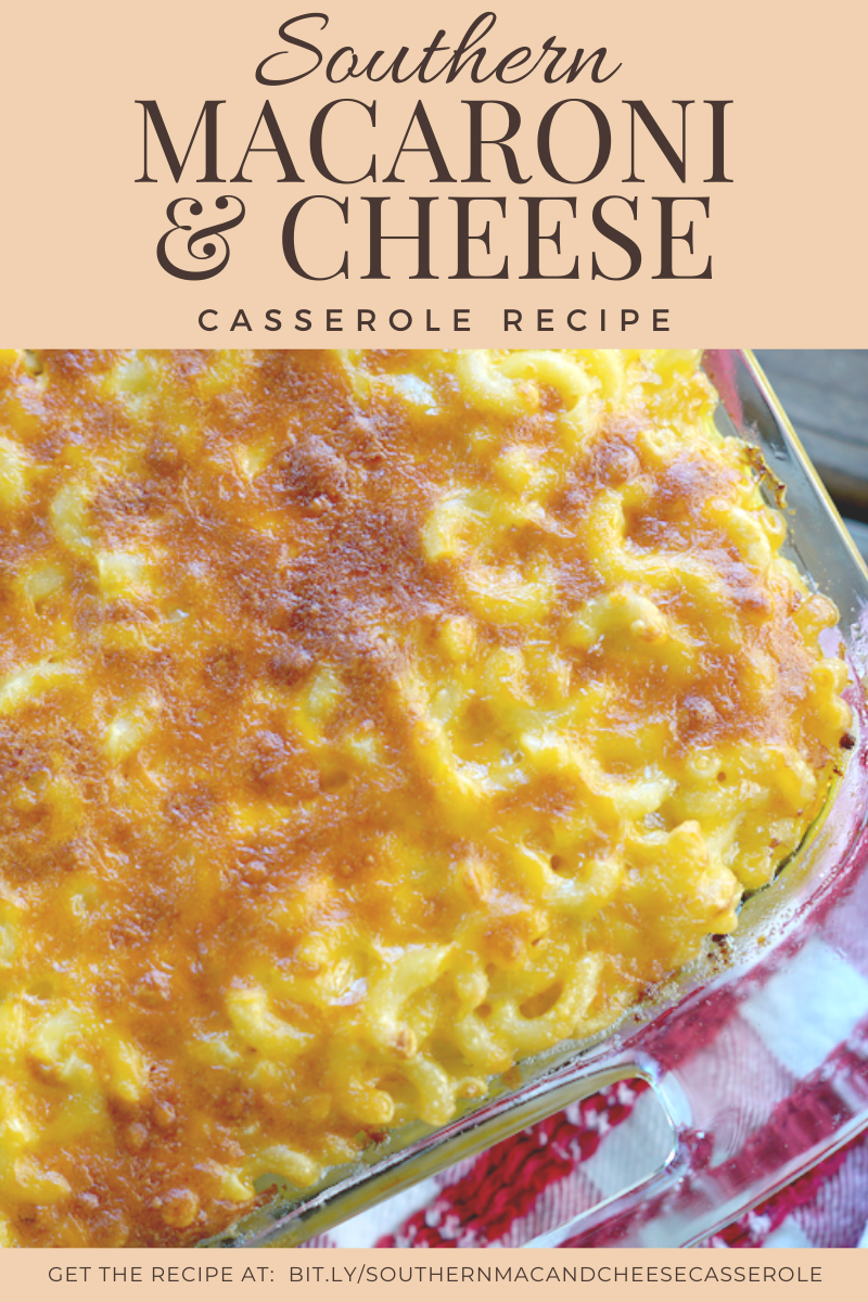 Southern Macaroni and Cheese Casserole Recipe - this macaroni and cheese recipe feeds a crowd. Perfect for holiday get togethers or large family gatherings. Baked in the oven, everyone is going to want to seconds of this southern macaroni and cheese casserole.