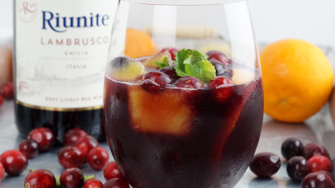 Single Serve Holiday Sangria with Riunite Lambrusco