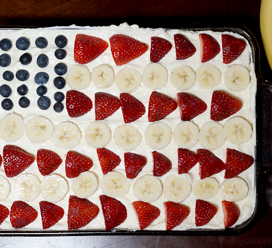 Patriotic Flag Dessert: Strawberry, Banana, and Blueberry Shortcake Recipe