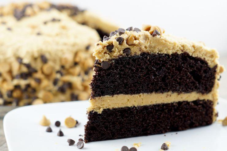 Chocolate Layered Cake with Homemade Whipped Peanut Butter Frosting